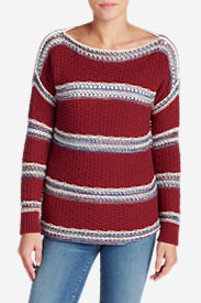 Women's Peakaboo Stripe Pullover Sweater in Red
