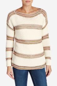 Women's Peakaboo Stripe Pullover Sweater in White