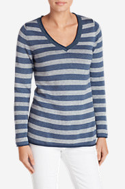 Women's Sweatshirt Sweater - Stripe V-Neck in Blue
