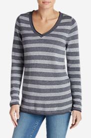 Women's Sweatshirt Sweater - Stripe V-Neck in Gray