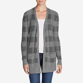 Women's Christine Boyfriend Cardigan Sweater - Plaid in Gray