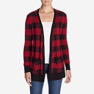 Women's Christine Boyfriend Cardigan Sweater - Plaid in Red