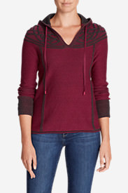Women's Shasta Cable Hoodie Sweater in Red