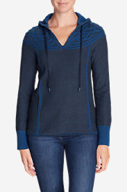 Women's Shasta Cable Hoodie Sweater in Blue