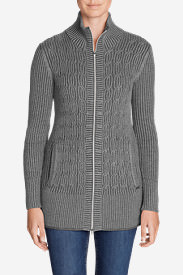 Women's Mount Shasta Long Cable Cardigan Sweater in Gray