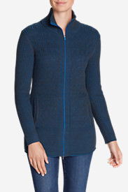 Women's Mount Shasta Long Cable Cardigan Sweater in Blue