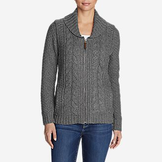 Women's Cable Fable Sweater Coat in Gray