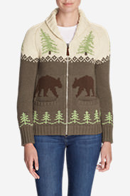 Women's Campfire Sweater Coat - Bears in Beige