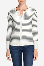 Women's Christine Cardigan Sweater - Stripe in White