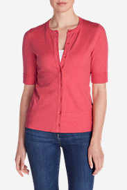 Women's Christine Elbow Cardigan Sweater in Red