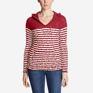 Women's Westbridge Hoodie Sweater - Stripe in Red