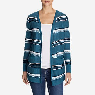 Women's Fiona Boyfriend Cardigan Sweater - Pattern in Blue