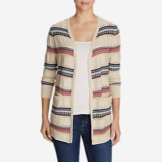 Women's Fiona Boyfriend Cardigan Sweater - Pattern in Beige