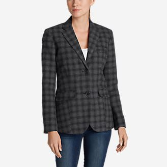 Women's Classic Wool-Blend Blazer - Pattern in Black