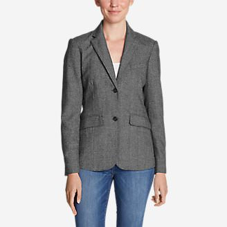 Women's Classic Wool-Blend Blazer - Pattern in Beige