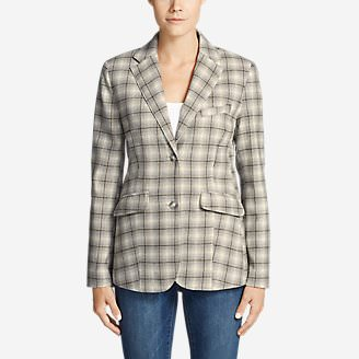 Women's Classic Wool-Blend Blazer - Pattern in Gray