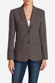 Women's Classic Wool-Blend Blazer - Pattern in Brown