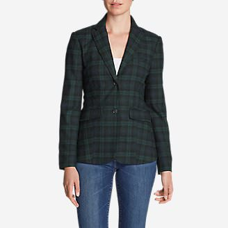 Women's Classic Wool-Blend Blazer - Pattern in Green