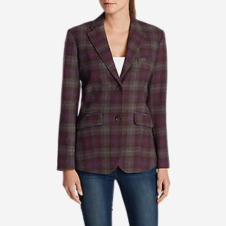 Women's Classic Wool-Blend Blazer - Pattern in Red