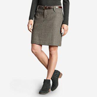 Women's Classic Wool-Blend Skirt - Pattern in Beige
