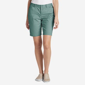 Women's Legend Wash Stretch Shorts - Curvy Fit, 10' in Blue