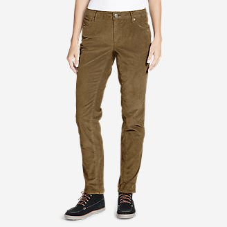 Women's Boyfriend Slim Leg Cord Pants in Brown