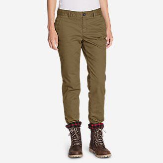Women's Stretch Legend Wash Flannel-Lined Pants - Boyfriend in Brown