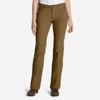 Women's Curvy Bootcut Cord Pants in Brown