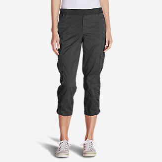 Women's Kick Back Twill Crop Pants in Gray