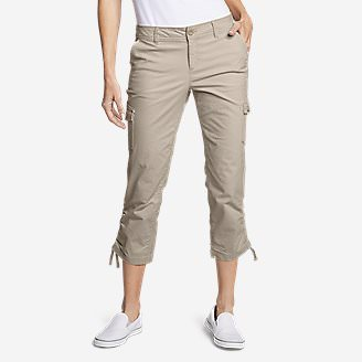 Women's Adventurer Stretch Ripstop Crop Cargo Pants - Slightly Curvy in Beige