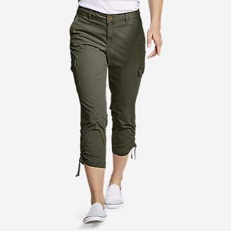 Women's Adventurer® Stretch Ripstop Crop Cargo Pants - Slightly Curvy in Green