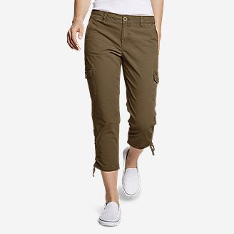 Women's Adventurer Stretch Ripstop Crop Cargo Pants - Slightly Curvy in Brown