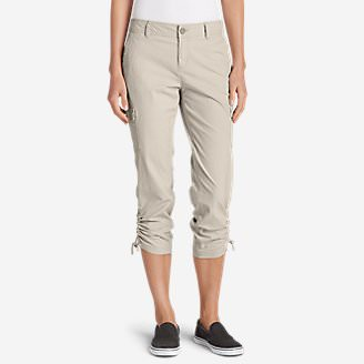 Women's Adventurer Stretch Ripstop Crop Cargo Pants - Slightly Curvy in Gray