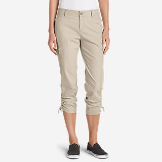 Women's Adventurer Stretch Ripstop Crop Cargo Pants - Slightly Curvy in White