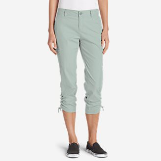 Women's Adventurer Stretch Ripstop Crop Cargo Pants - Slightly Curvy in Green