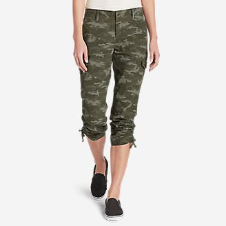 Women's Adventurer Stretch Ripstop Cropped Cargo Pants - Camo - Slightly Curvy in Green
