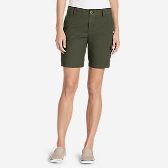 Women's Adventurer Stretch Ripstop Cargo Shorts - Slightly Curvy in Green