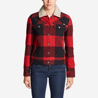 Women's Maple Jacket w/ Sherpa Collar in Red