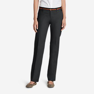 Women's StayShape Straight Twill Pants - Slightly Curvy in Gray
