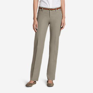 Women's StayShape Straight Twill Pants - Slightly Curvy in Beige