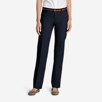 Women's StayShape Straight Twill Pants - Slightly Curvy in Blue