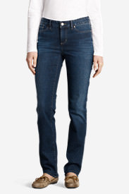 Women's Slightly Curvy Straight Leg Jeans - StayShape in Blue