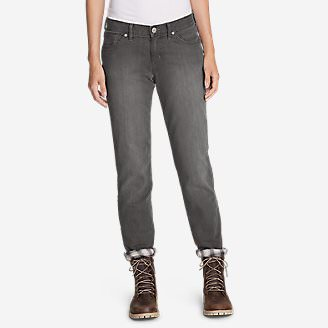 Women's Boyfriend Flannel-Lined Jeans in Gray