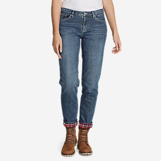 Women's Boyfriend Flannel-Lined Jeans in Blue
