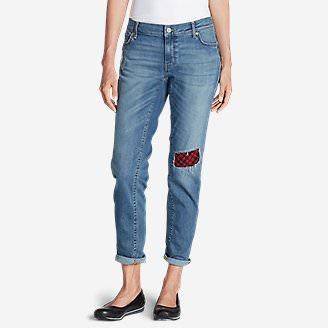 Women's Elysian Flannel Patch Jeans - Boyfriend Slim in Blue