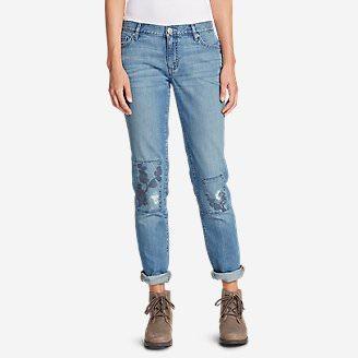 Women's Boyfriend Slim Embroidered Jeans in Blue