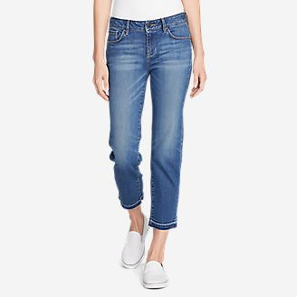 Women's Elysian Slim Straight Crop Jeans - Release Hem in Beige