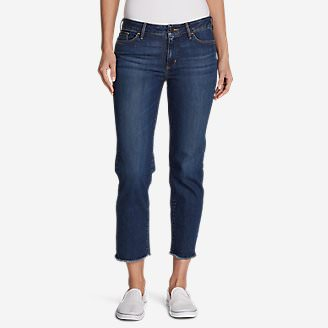 Women's Elysian Slim Straight Crop Jeans - Raw Edge in Blue
