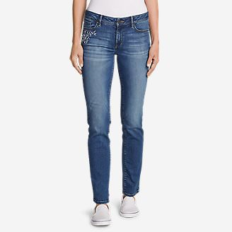 Women's Elysian Slim Straight Embroidered Jeans in Blue