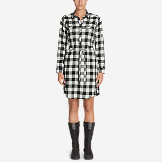 Women's Stine's Favorite Flannel Shirt Dress in Black